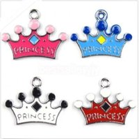 Cheap 100X Multicolor Crown princess mix color DIY Metal Charms Jewelry Making pendants Party Gift