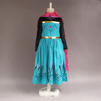 Wholesale frozen elsa dress costume long sleeve princess elsa coronation dress for kid girls dress long cape spring elsa dress cape cloak