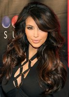 Wholesale Kim Kardashian Indian remy highlight color wigs celebrity lace front wig for sale