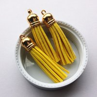 Wholesale MM Dark Yellow Suede Cord Macrame Tassels with Gold Caps for DIY Phone Chain Keyring Curatin Decoration