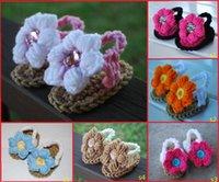 Cheap Beautiful flowers wool crochet baby, toddler sandals. 100% veil! Flip flops. Casual beach sandals baby wear 12pair 24pcs
