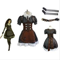 Wholesale Alice Madness Returns Alice Stream Cosplay Costume Dress Custom Size Full Set