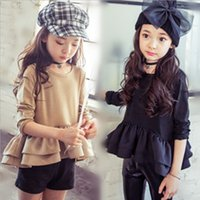 boat t shirts - 2015 Autumn Garments Baby Kids Clothing Girls Solid Color Pleated Tops All Match Girl Dress Fashion Long T shirts Princess Dresses