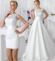 bridal dress china - 2015 Elegant Lace Wedding Dresses with Detachable Skirt High Neck Two Pieces Simple China Made Plus Size A Line Buttons Back Bridal Gowns