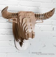 african wood art - Spanish bull head European Quebec style wall animal wall art OX head African buffalo head creative D wood decor