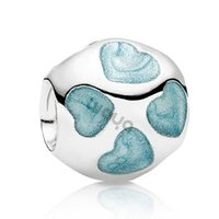 Wholesale 925 sterling Silver charms Blue Enamel Heart beads for women Bracelets necklaces statement necklaces silver jewelry Making