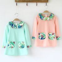 big girls clothes for cheap - Cheap New brand dress t for girls flower pocket chiffon big turn down collar dresses costume children s t shirt kids clothes