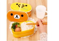 Wholesale 2015 new hot sale Brown Microwave Rilakkuma Bento Yellow Microwave Nostrils Chickens Multilayer Children Lunch Box HOT with Chopsticks