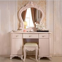 Wholesale factory price Royal bed Fashion European French Carved mirror table dresser furniture