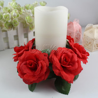 flower candle ring - Large Floral Candle Rings Wedding Centerpieces Silk Roses Flowers Unity Candle Party Home Vase Decoration