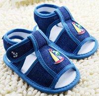 Cheap 2015 summer blue denim boy soft bottom toddler sandals Cartoon Velcro casual beach baby sandals baby wear sale outlets 8pair 16pcs cl