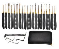 Wholesale High Quality GOSO Titanize Lock Pick Tools Set w Leather Bag Hook Picks House Lockpick Locksmith Tool Padlock Picking