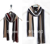 knitted cashmere scarf - New Fashion Cotton Men s Scarf Shawl Wrap Casual Warm Stripe Cashmere Knitting Man business Scarf Suit Spring Autumn Winter