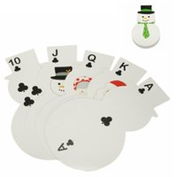 Wholesale Creative Sheet Lovely Christmas Snowman Shape Playing Cards Paper Standard Poker Christmas Novelty Gift Collect