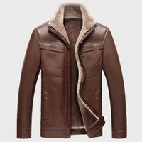pelle pelle jackets - Fall Fleece Winter Leather Jackets for Men Cazadoras Hombre Cuero Kaban Giacca Pelle Uomo Mens Fur Lined Jacket Coats Overcoat