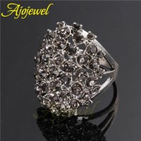 antique style cz rings - 010 Vintage retro style antique silver plated AAA CZ big black rings for women new design