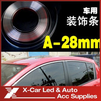 Wholesale 28mmX15m Car Chrome Styling Moulding Trim Strip Auto Body Window Exterior Decoration Car Accessories Tool Freeshipping