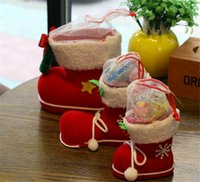 christmas box - EMS Christmas Tree Decoration Hanging Xmas Bag Christmas Boots Candy Box for Kids Children Party Bags Boys Girls Santa Boot Shoes Stocking
