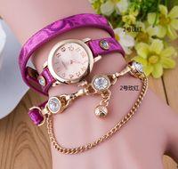 bell belt buckle - 10pcs Women Diamond Rose Gold Chain Bracelet Roped Smart Watch Ladies Fashion Dress Genuine Leather Strap Wristwatches Locket Bell Pendant