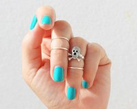 Wholesale 24sets European fashion style skull Punk gold silver plated ring For Women set