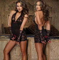 Wholesale Women s Sexy Erotic Lingerie Plus size Satin bow Gown Lace Patchwork Sleepwear Sexy Nightie G string Handcuffs Set
