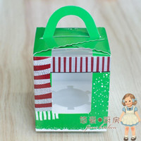 Wholesale DHL christmas scarf cupcake box muffin box with clear PVC window cake box apple box Send to tap