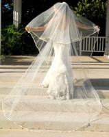 simple long veil beige wedding veil - Exquisite Bridal Veil Organza Ribbon Edge Cheap Cathedral layers Tiered Wedding Veil Custom Made Mantilla Comb Bridal Veils SKU455