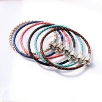 achat en gros de bracelet en cuir tressé argent-DIY Tressé chaîne Buckle en cuir à la main Box Plaqué Argent Chain Bare chaîne pour Bracelet bricolage Bijoux Accessoires