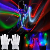 Wholesale New LED Optical Fiber Gloves light Multicolor Raver Party Dance Flashing Gloves toys Magic Mitts White TK1207