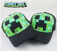 Wholesale Minecraft hat JJ Monster Creeper Toy coolie afraid Hat baseball hat Sun hat Peaked Cap Green Caps Hats