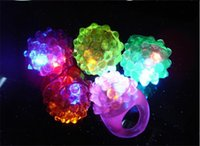 Wholesale 2016 Christmas gift LED Light Strawberry Flashing finger Ring Elastic Rubber Ring Light Up Glow Toys For Event Party Decoration supplies