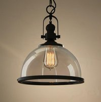 Wholesale Loft Vintage Light Edison Bulb Retro Industrial glass Pendant Lamp Fixture Black for dinning room hotel coffee bar