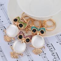 Wholesale Hollow Rhinestone Aureate Owl Pendant Pearl like Body Key Ring Key Chain Fashional Car Keychain Handbag Charm Keyring J0499