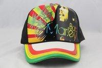 Wholesale digital printing leather Jamaica Reggae Bob Marley music souvenir gift Hip Hop streetwear baseball adjustable caps High quality Hats