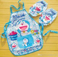 Wholesale Hot Sale sets cartoon Minions aprons with raglan sleeves sets Frozen SpiderMan Mickey Princess children waterproof pinafore