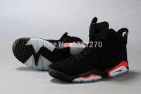 zapatos de baloncesto de cuero hombre moda retro 6to hombres zapatos de salto de baloncesto de la mosca negro