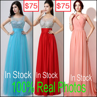 Wholesale In Stock Cheap Prom Evening Dresses Real Image Blue Red Coral Backless Long Beads Formal Occasion Wedding Party Gowns Sexy