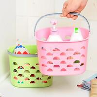 Wholesale New Colored Fashion Hollow Plastic Portable Storage Basket Kitchen Bathroom Bath Basket Toiletries Style