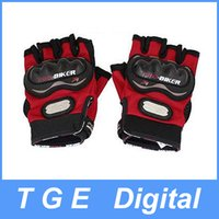 Wholesale 1 Pair Black Red Motorcycle Driving Sports Hook Loop Fastener Half Finger Gloves