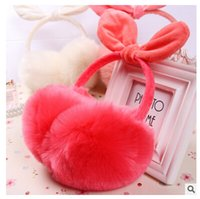 Wholesale Bow Ear Muffs Warm Furry Winter Ear Muffs for Women Ladies Colorful Plush Fluffy Imitation Rabbit Fur Ear Muff Warmers Winter Earmuffs m973