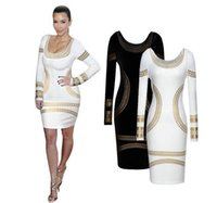 bell trade - New Year gift hotWe are dress foreign trade sexy slim dress long sleeved dress bronzing printing