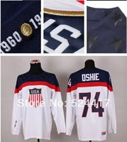 Cheap stitched 2014 Olympic Team USA#74 T.J. Oshie Jersey Sochi Winter olympic Ice Hockey Jersey Blue white