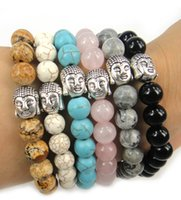 Wholesale Free drop shipping mm turquoise natual semi precious energy stone with mm disco ball Buddha Bracelets man or women yoga bracelet