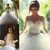 long sleeve ball gowns - 2015 Real Photos Long Sleeve Wedding Dresses with Rhinestones Crystals Backless Ball Gown Vintage Bridal Gowns Spring Quinceanera Dresses