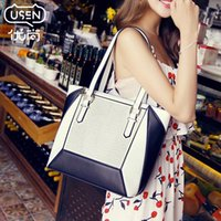 ba leather tote - Factory Still excellent black and white bags new summer hit color stitching Tote handbag Korean tidal shoulder ba