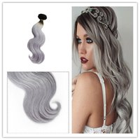 Wholesale Grey Ombre Hair Extensions B Grey Straight Two Tone Ombre Brazilian Grey Hair Weave