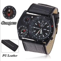 batteries thermometers - OULM Men s Sports Multiple Thermometer Compass Cycling Leather Strap Military Wristwatches