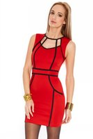 Cheap 2015 Spring Summer Hot Selling Tunic Dresses Party Evening Elagant Sexy Woman Clothing Bandage Contrast Color Sundress