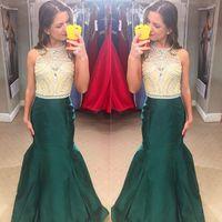 beauty robe - 2016 Beauty Prom Dresses Floor Length Dark Green Satin Mermaid Evening Gowns Crystals Beaded Taffeta Party Dress Robes de bal