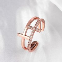 Wholesale 10pcs Women Fashion Beautiful Rose Gold Plated Adjustable Hollow Crystal Rhinestone rings finger wedding rings Jewelry Accessories
